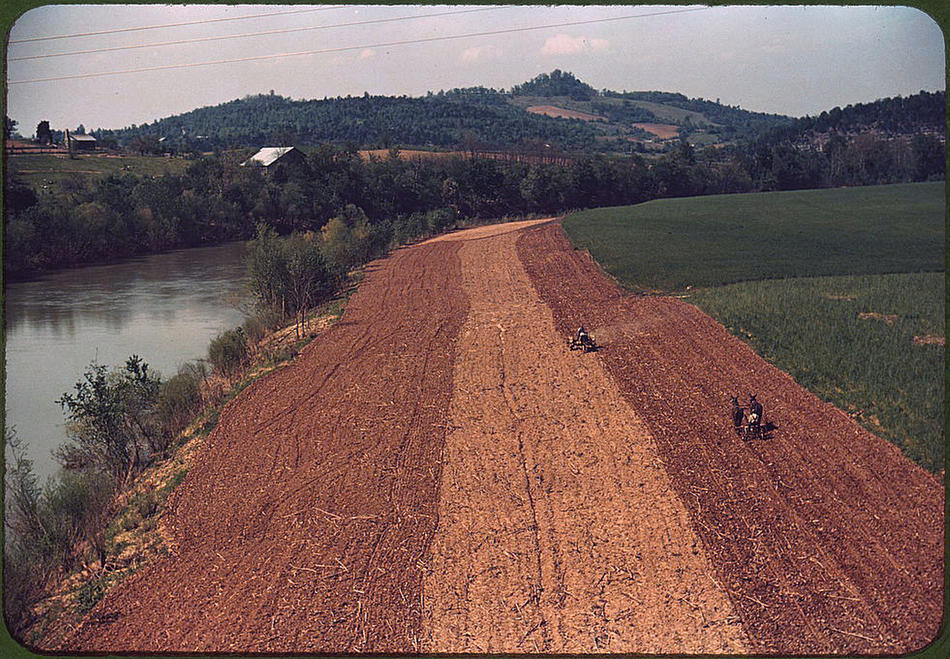 Planting corn along a river. Northeastern Tennessee, May 1940. Reproduction from color slide. Photo by Marion Post Wolcott. Prints and Photographs Division, Library of Congress