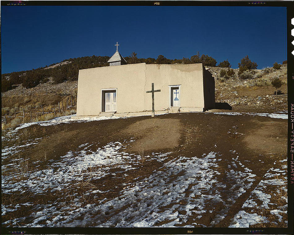 Chapel, Vadito. Near Penasco, New Mexico, Spring 1943. Reproduction from color slide. Photo by John Collier. Prints and Photographs Division, Library of Congress