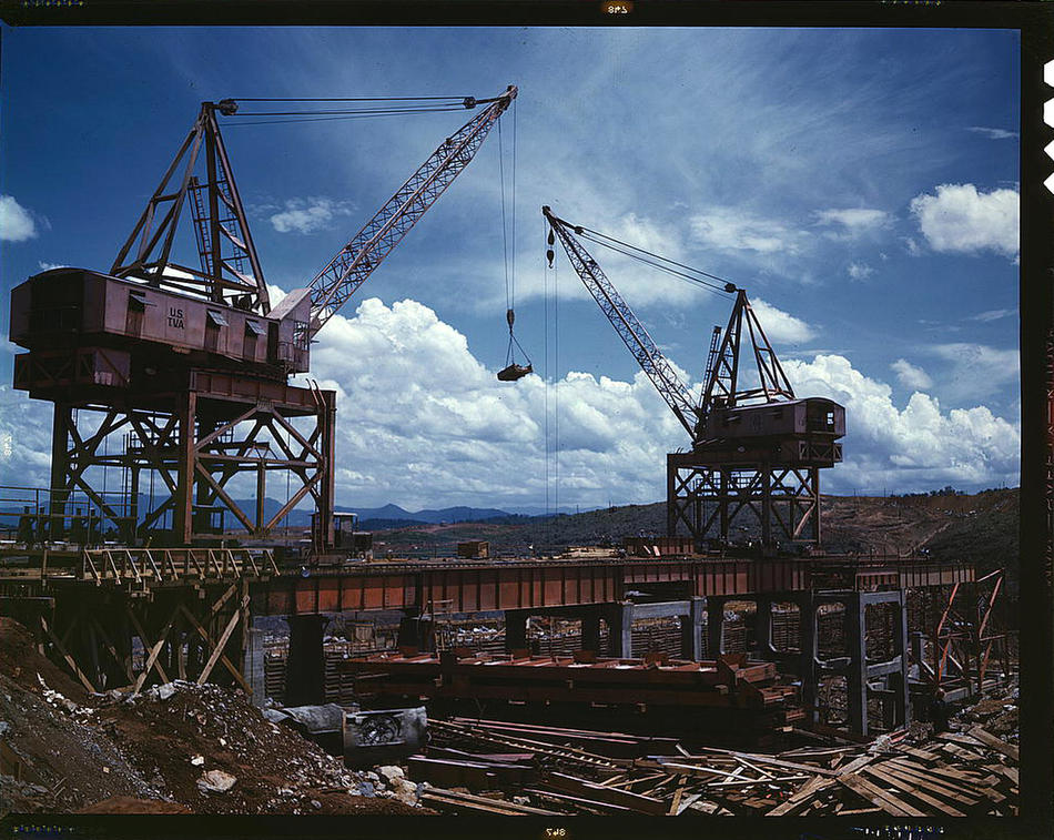 Construction work at the TVA's Douglas Dam. Tennessee, June 1942. Reproduction from color slide. Photo by Alfred T. Palmer. Prints and Photographs Division, Library of Congress