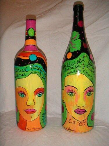 Бутылки расписанные акрилом