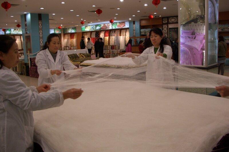 Изготовление шелкового одеяла