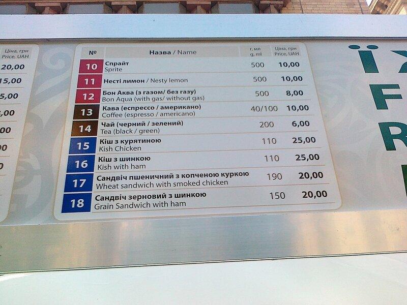 Цены в фан-зоне Евро 2012 на Крещатике