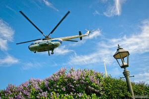 Вертолетные прогулки в Санкт-Петербурге (вертолет, Петербург, сирень, фонарь)