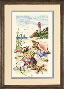 Dimensions 35016 Seiside Treasures Побережье, маяк, ракушки Вышивка крестом, схемы.