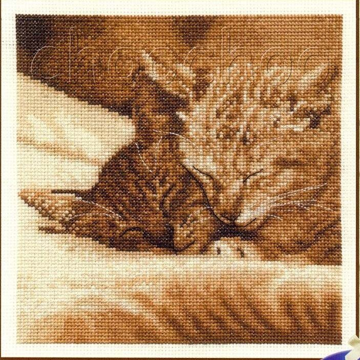 Вышивка крестом кошки 7.