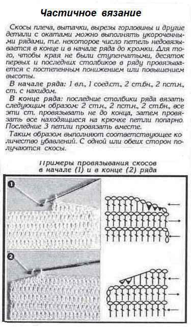 Вязание спицами скос плеча