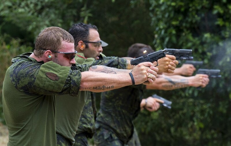 Canadian special forces soldiers fire th