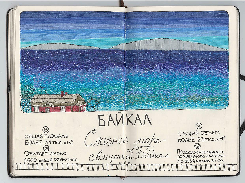 Путешествие из Москвы во Владивосток, по Транссибу со скетчбуком. Проект Кати Гущиной