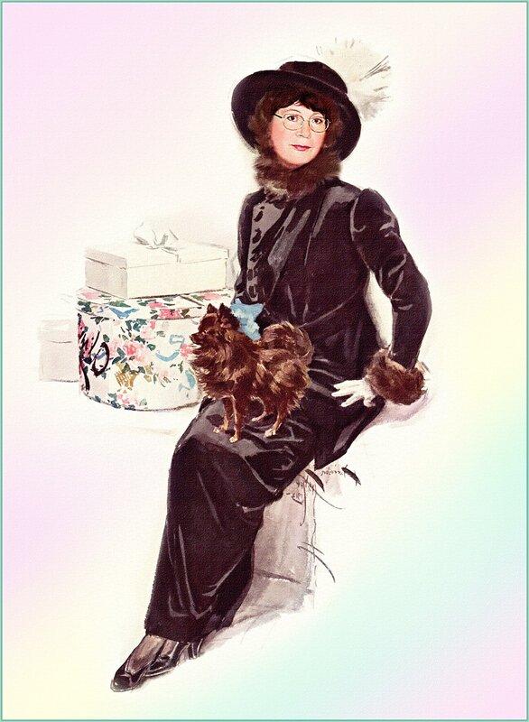 """Предпросмотр - Схема вышивки  """"Женщина с собачкой """" - Схемы автора  """"Ilena """" - Вышивка крестом."""