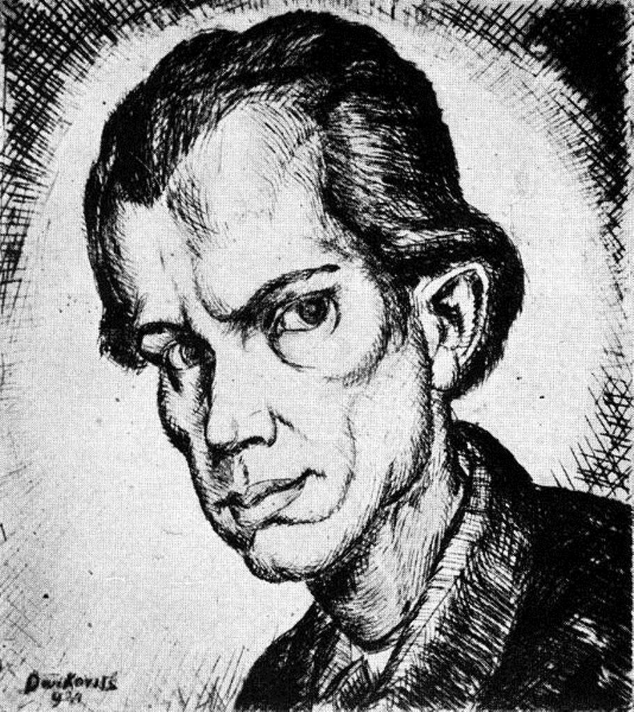 Автопортрет_ Гравюра на меди, 1921 г. Деркович Дьюла (1894-1934)
