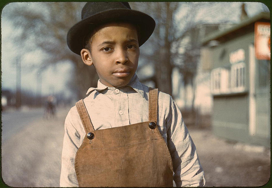 Young African American boy. Cincinnati, Ohio, 1942 or 1943. Photo by John Vachon. Prints and Photographs Division, Library of Congress