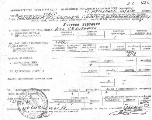 Дом Селиванова: учетная карточка