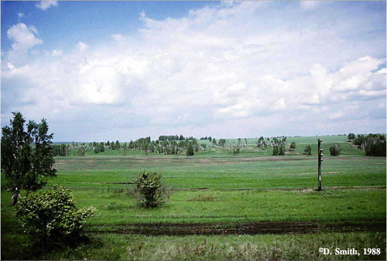 Пейзаж из окна поезда вдоль Транссибирской железной дороги