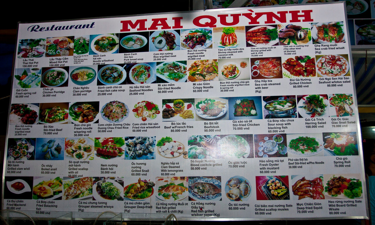 Цены на морские продукты ( крабы, креветки, омары ) во Вьетнаме