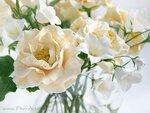 Букет с белыми колокольчиками и садовыми розами - Ручная работа