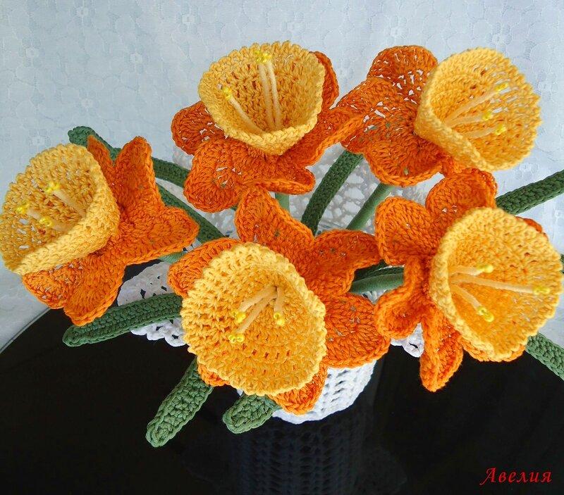 При изготовлении использовались проволока, бисер.  В букете 5 нарциссов.  Каждый цветок сделан отдельно.