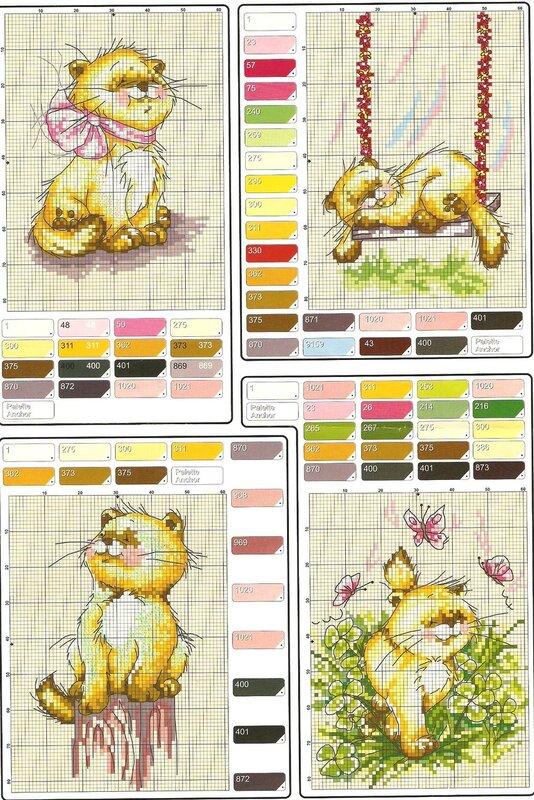 Схема для вышивки котят.