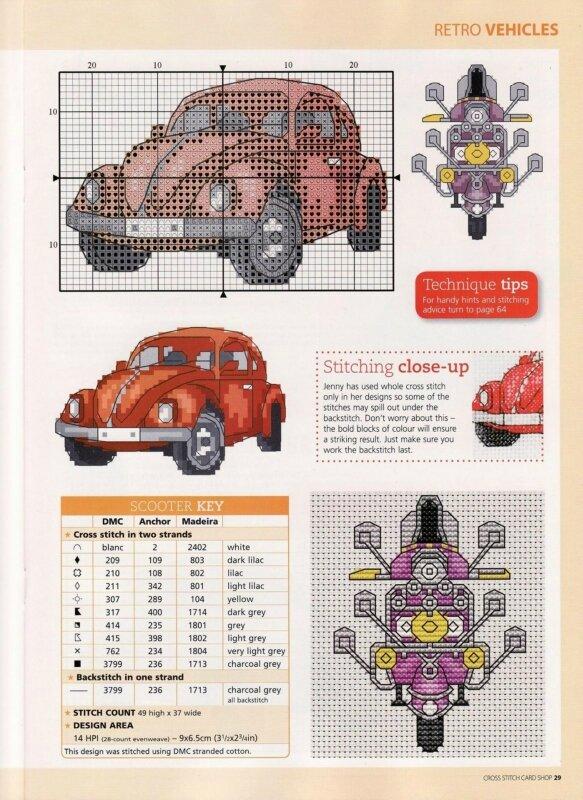 Автомобиль схема вышивки крестом 20