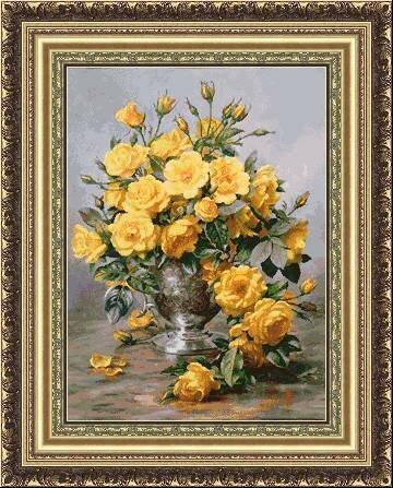 свой цитатник или сообщество!  Желтые розы в вазе.  Вышивка крестом.  Прочитать целикомВ.
