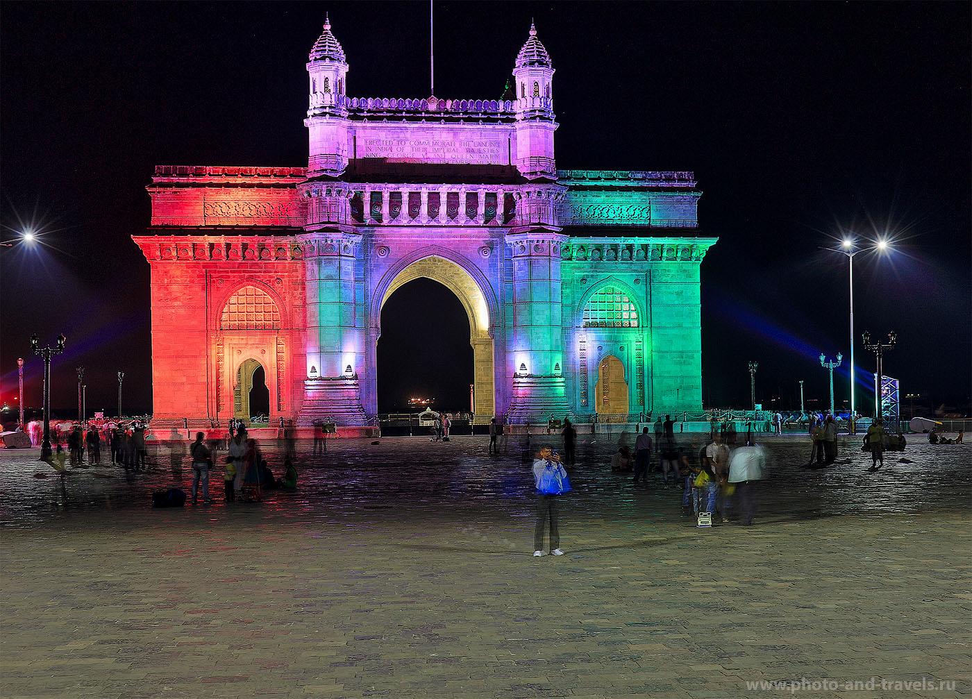 Фото 17. Арка Ворота в Индию в Мумбаи. Ночная фотография