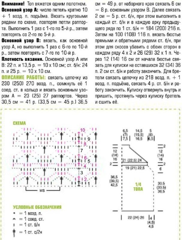 Схема вязания топа крючком jcomments on.  Модель топа взята из журнала Маленькая Диана 7/2012 г.
