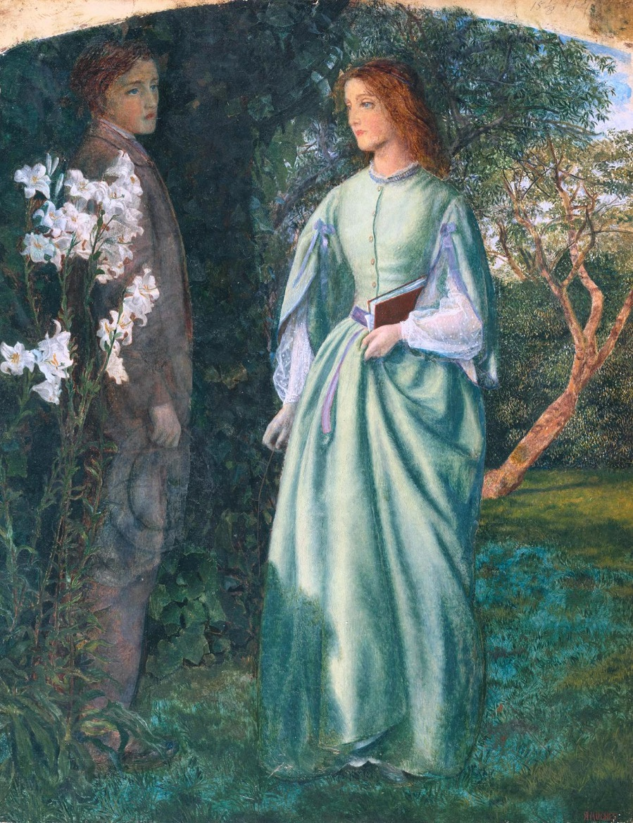 Aurora Leigh's Dismissal of Romney ('The Tryst') 1860 by Arthur Hughes 1832-1915