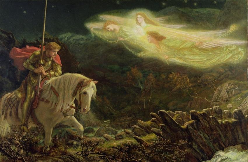 1870 Сэр Галахад в поисках Святого Грааля (Sir Galahad, the Quest for the Holy Grail) Ливерпуль, Художественная галерея Уолкера.