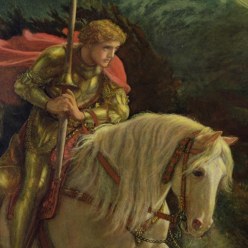 1870 Сэр Галахад в поисках Святого Грааля (Sir Galahad, the Quest for the Holy Grail) Ливерпуль, Художественная галерея Уолкера (деталь)