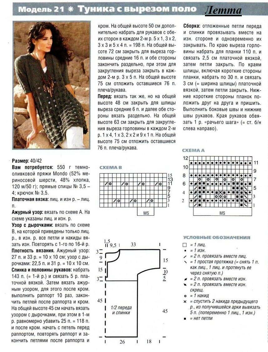 Схемы вязаной ажурной туники платья