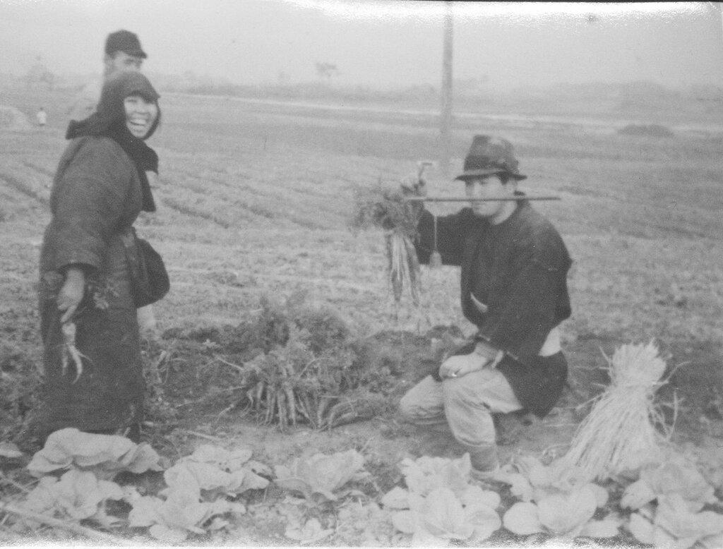 Farmers weighing carrots, Dec 1945, Fukuoka