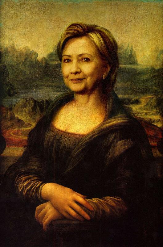 Хиллари Клинтон в виде Моны Лизы