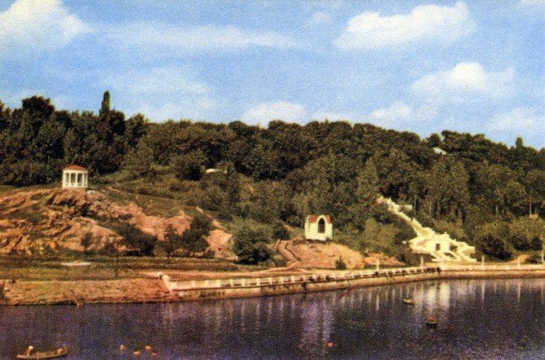Вид на парк с реки Тетерев. Открытка 1967 г. Житомир