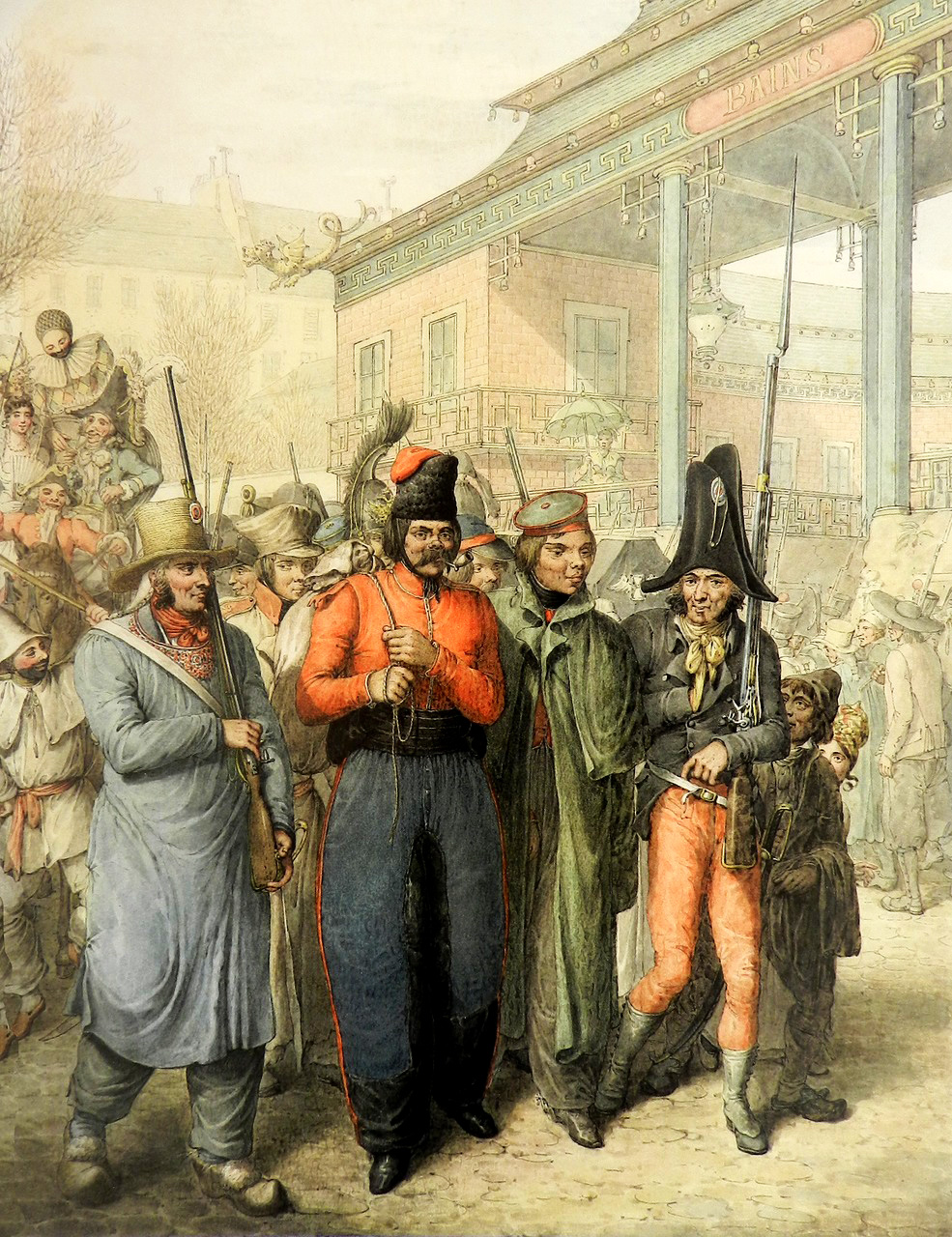 15. Казак во главе импровизированного шествия мимо «китайских бань»