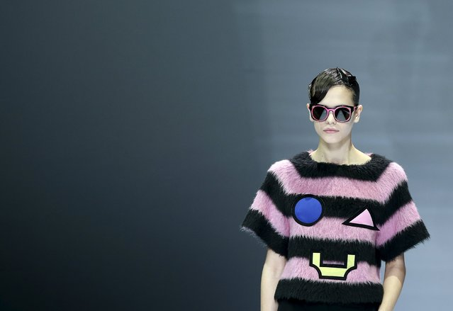 A model presents a creation from the Emporio Armani Autumn/Winter 2016 women's collection durin