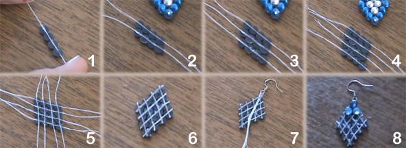 Сережки своими руками из нитки