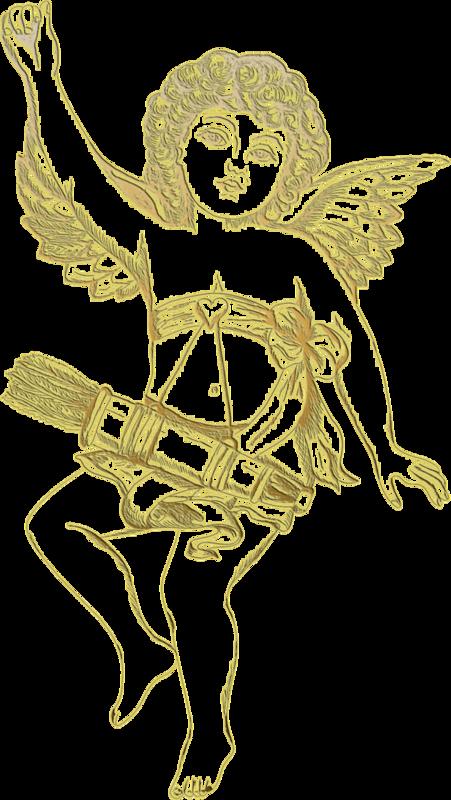 Клипарт Золотые купидоны на прозрачном фоне