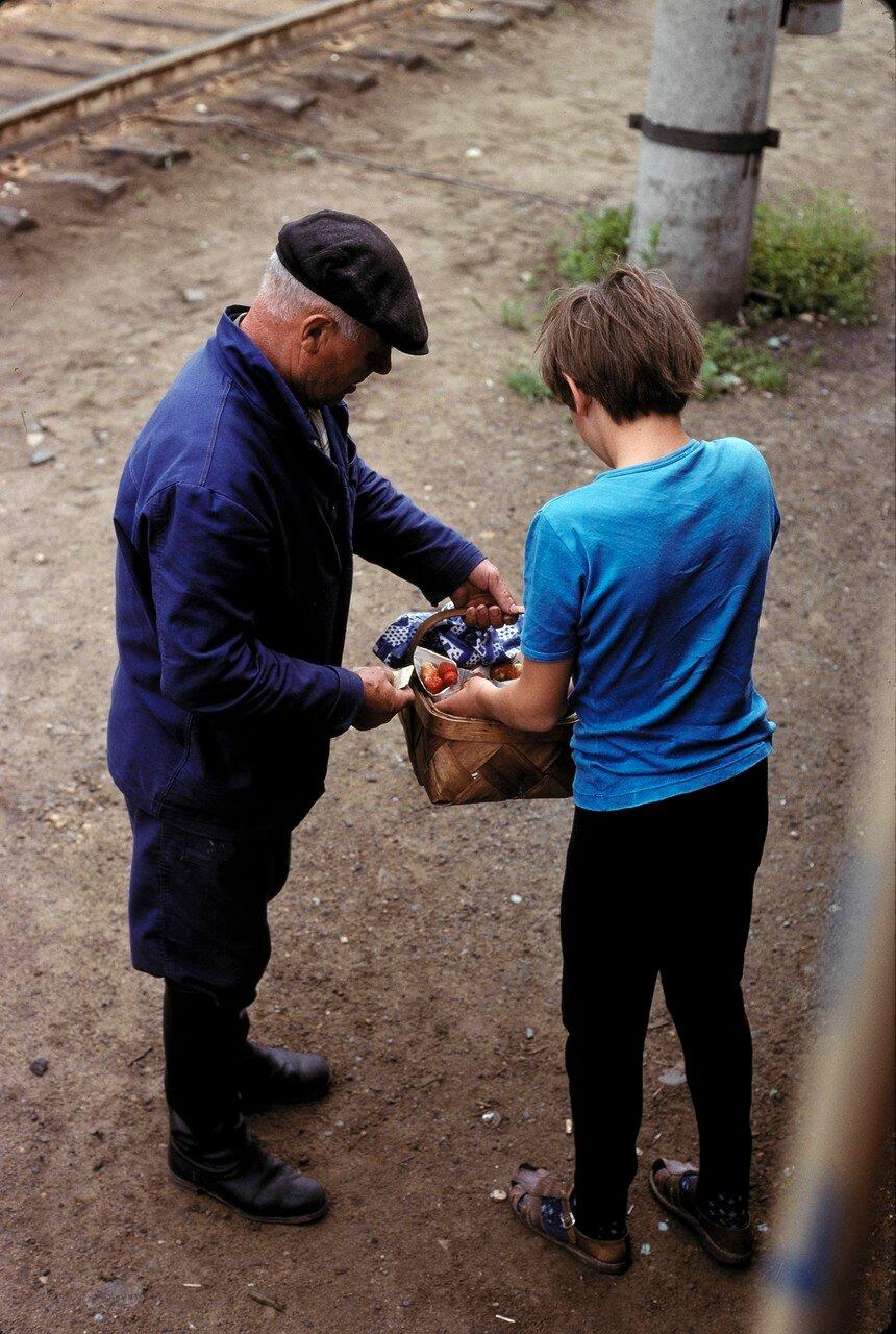 Продавец клубники на станции