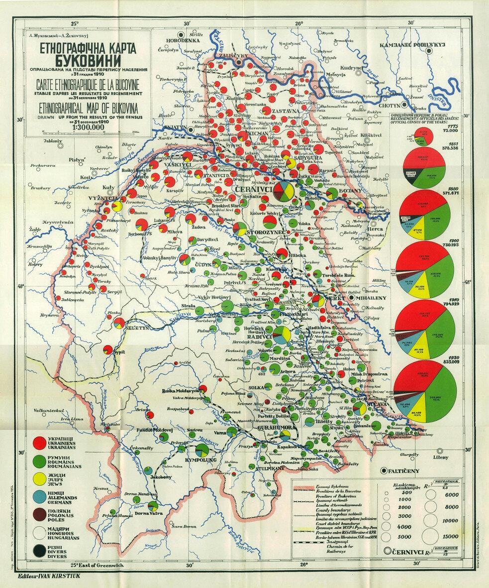 1910. Этнографическая карта Буковины, составленная Жуковским по данным переписи