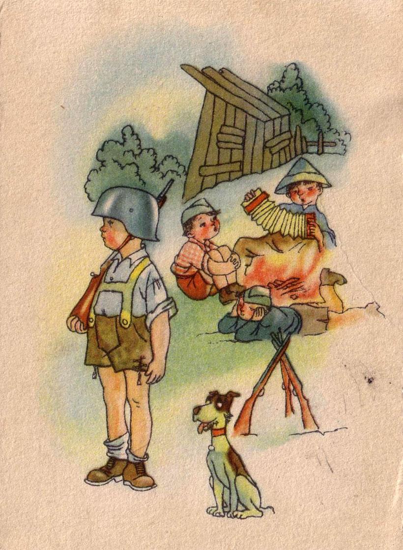 Смешные картинки, солдат и ребенок открытка