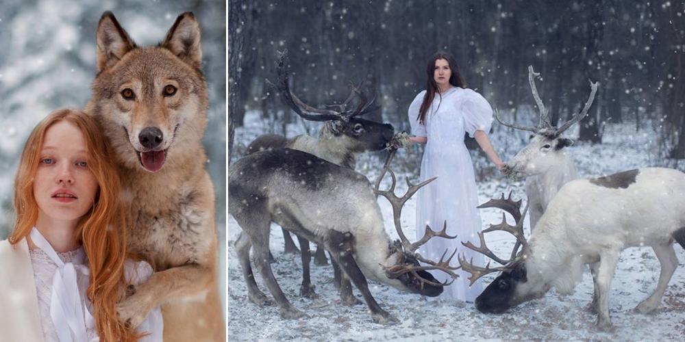 Сказочные портреты девушек с дикими животными