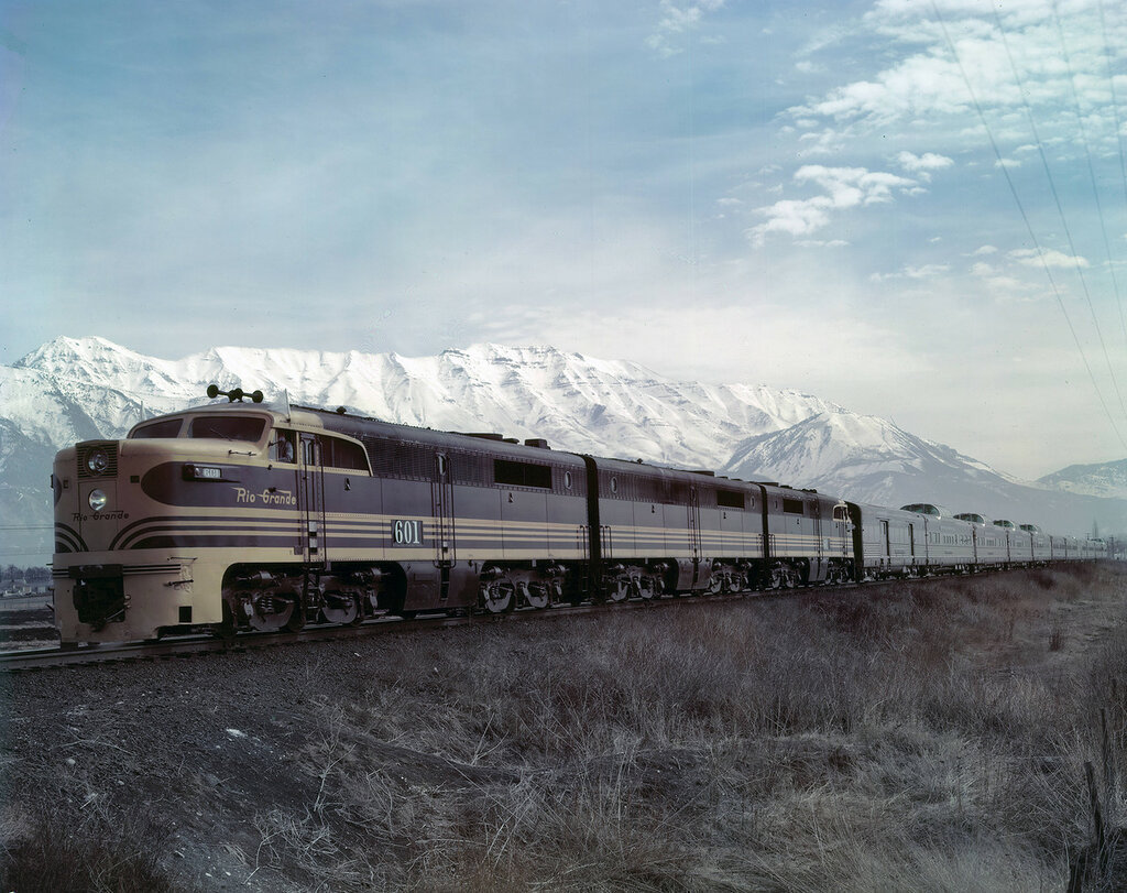 D&RGW 601 on 3 units, westbound with train #17, the California Zephyr, west of Provo, Utah. March 14, 1949