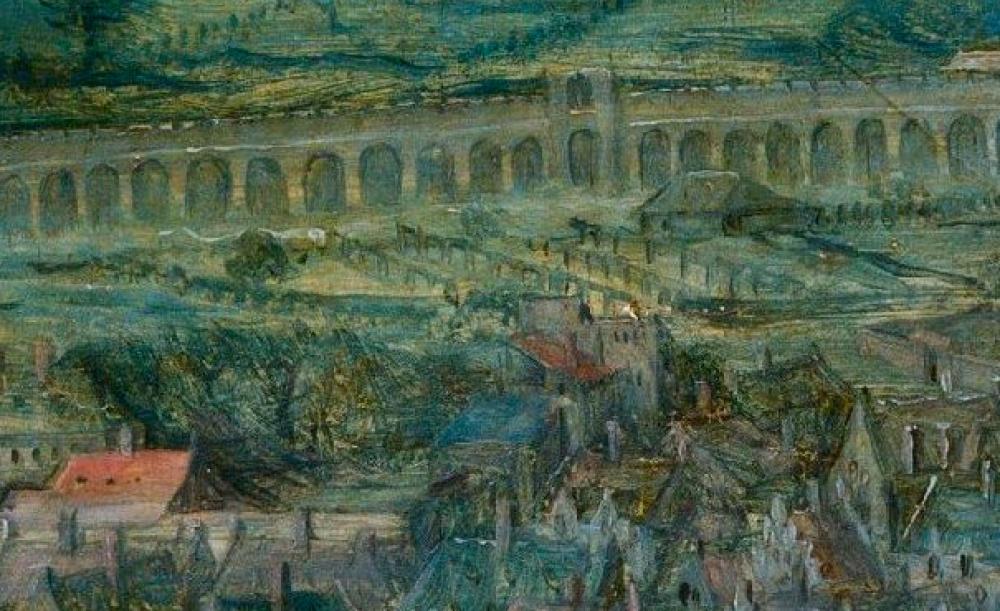 4. Вгороде помосту едет повозка, женщины стирают белье вреке, рядом расположена небольшая водяная
