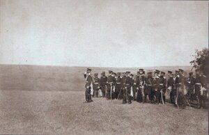 Император Александр II со своей свитой принимает военный парад в честь взятия Плевны 14 декабря 1877