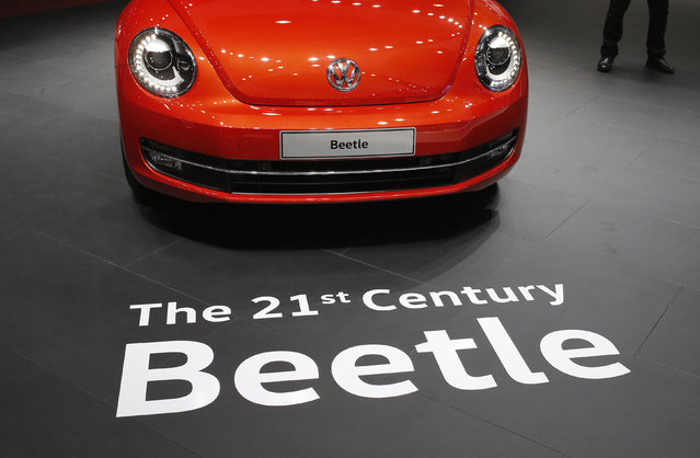 A Volkswagen Beetle car is pictured at the Indian Auto Expo in Greater Noida, on the outskirts of Ne
