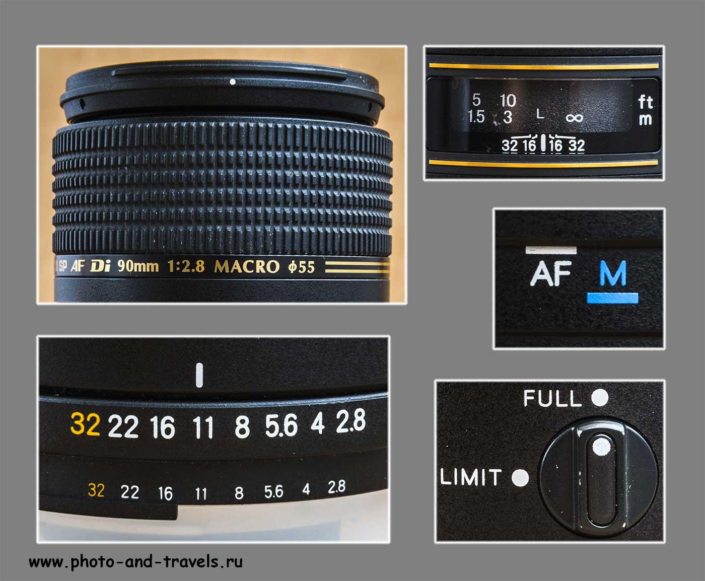 Фотография 3. Элементы управления макрообъектива Tamron SP AF 90mm f/2.8 Di MACRO 1:1