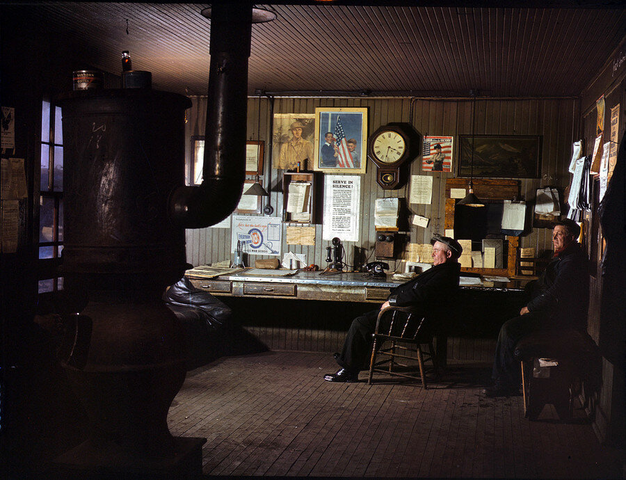 December 1942. A winter afternoon in the North Proviso yardmaster's office, Chicago & North Western Railroad.jpg