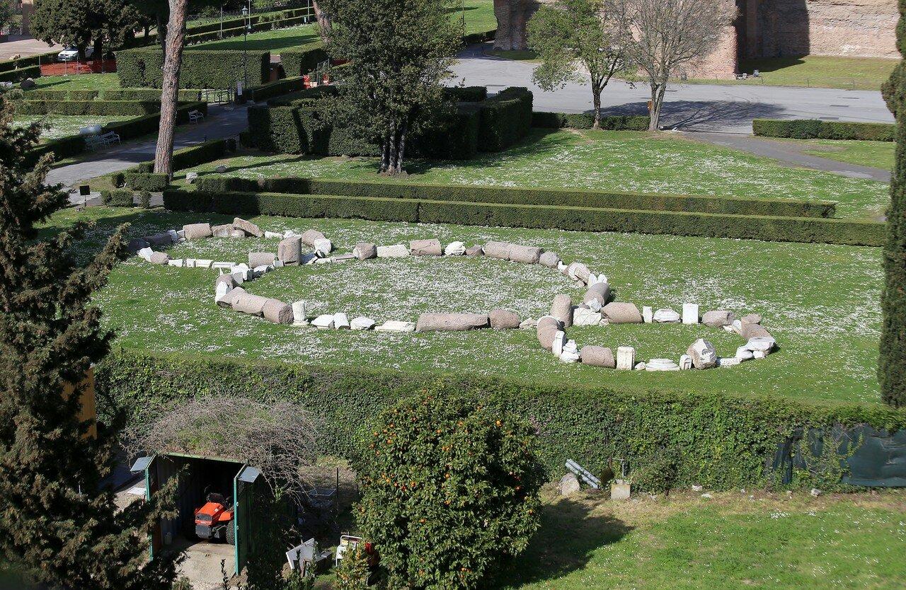 Рим. Термы Каракаллы. Вид с аллеи Гуидо Бачелли (Viale Guido Baccelli)