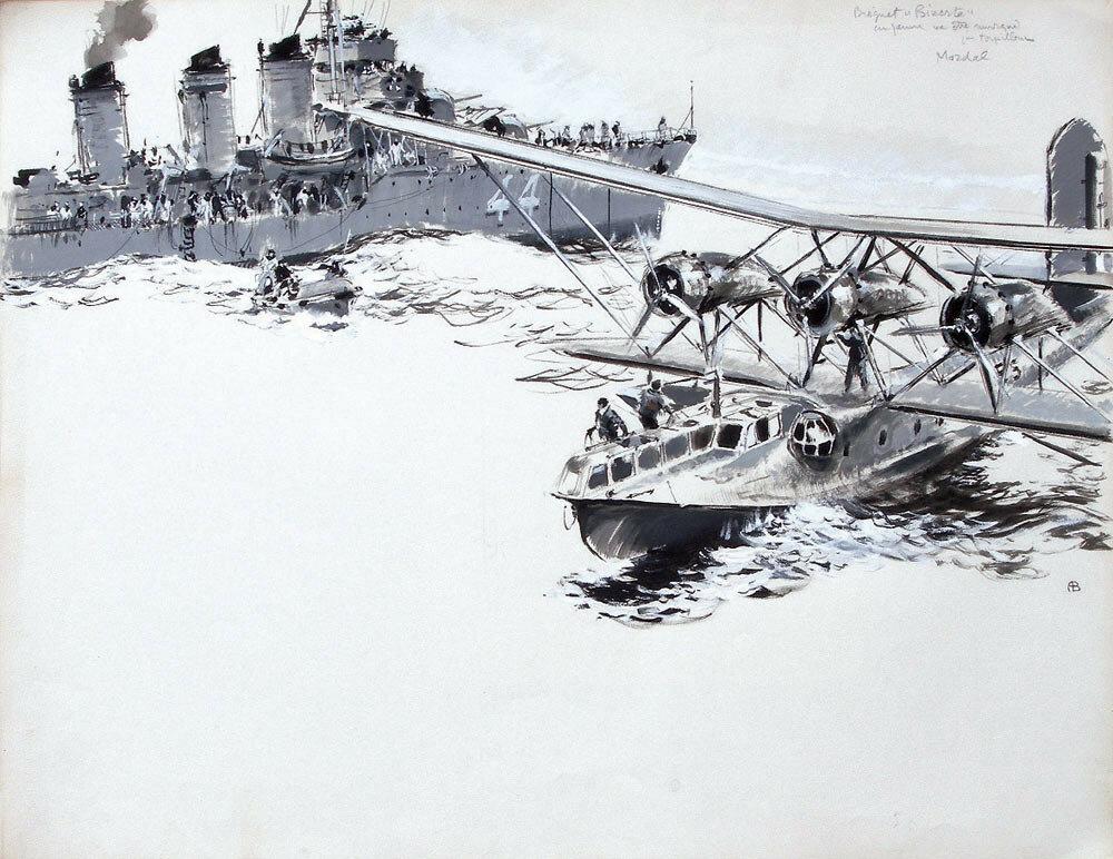 Albert Brenet - Bréguet 521 Bizerte en panne va être remorqué par torpilleur