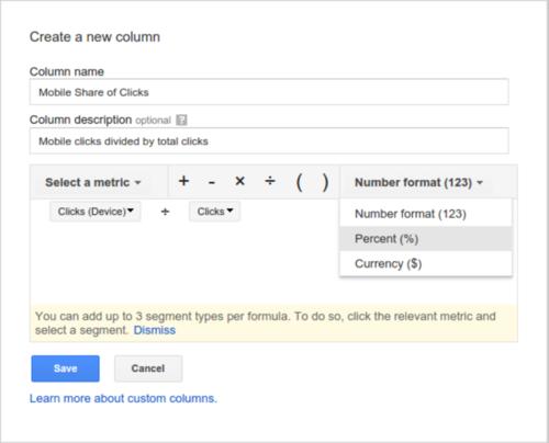 В пользовательские столбцы Google AdWords добавили поддержку формул