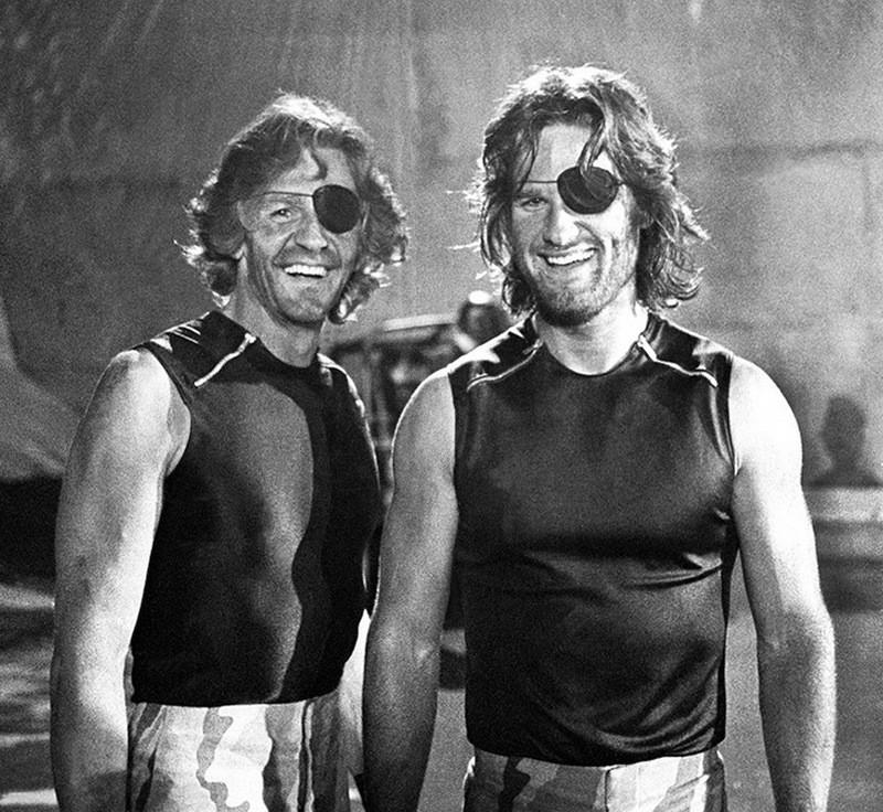 Курт Рассел и его дублер Дик Варлок на съемках фильма «Побег из Нью-Йорка», 1980 год.